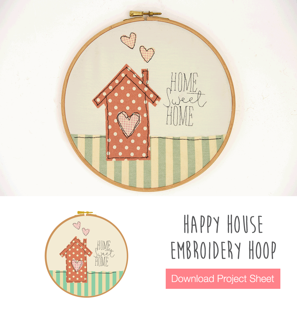 Happy House Embroidery Hoop