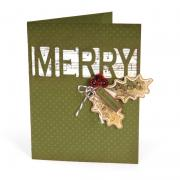 Merry Christmas Holly Leaves Card