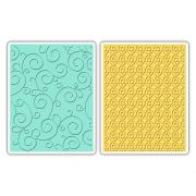 Sizzix Textured Impressions Embossing Folders 2PK - Swirls & Squares in Ovals Set