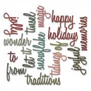 Thinlits Die Set 16PK - Holiday Words 2: Script