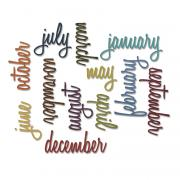 Sizzix Thinlits Die Set 12PK - Calendar Words: Script