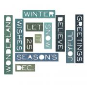 Sizzix Thinlits Die Set 12PK - Holiday Words: Thin