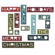 Sizzix Thinlits Die Set 14PK - Holiday Words #2: Thin