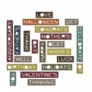 Sizzix Thinlits Die Set 21PK - Sentiment Words, Thin
