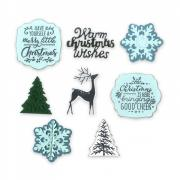 Sizzix Framelits Die Set 8PK w/Stamps 4PK- Christmas is Here