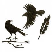 Thinlits Die Set 4PK - Feather & Ravens