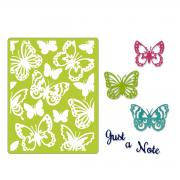 Sizzix Thinlits Die Set 6PK w/Textured Impressions - Just a Note Butterflies