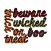 Sizzix Thinlits Die Set 12PK - Shadow Script Halloween