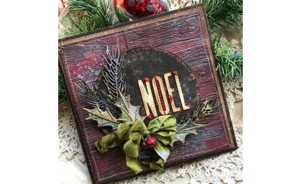 Noel Christmas Card using Tim Holtz designs by Tattered Nest Designs