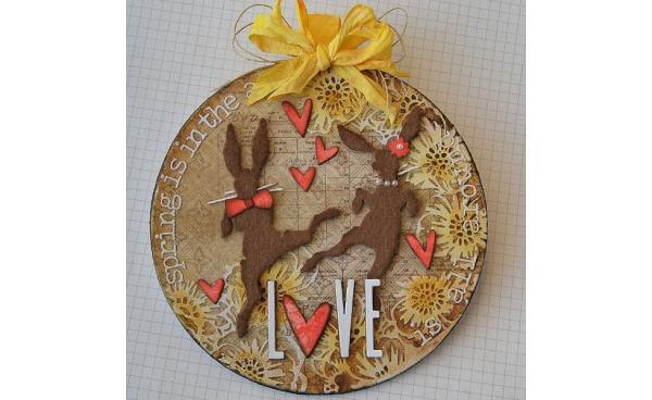 Spring Love art panel using Tim Holtz designs - by Kath Stewart