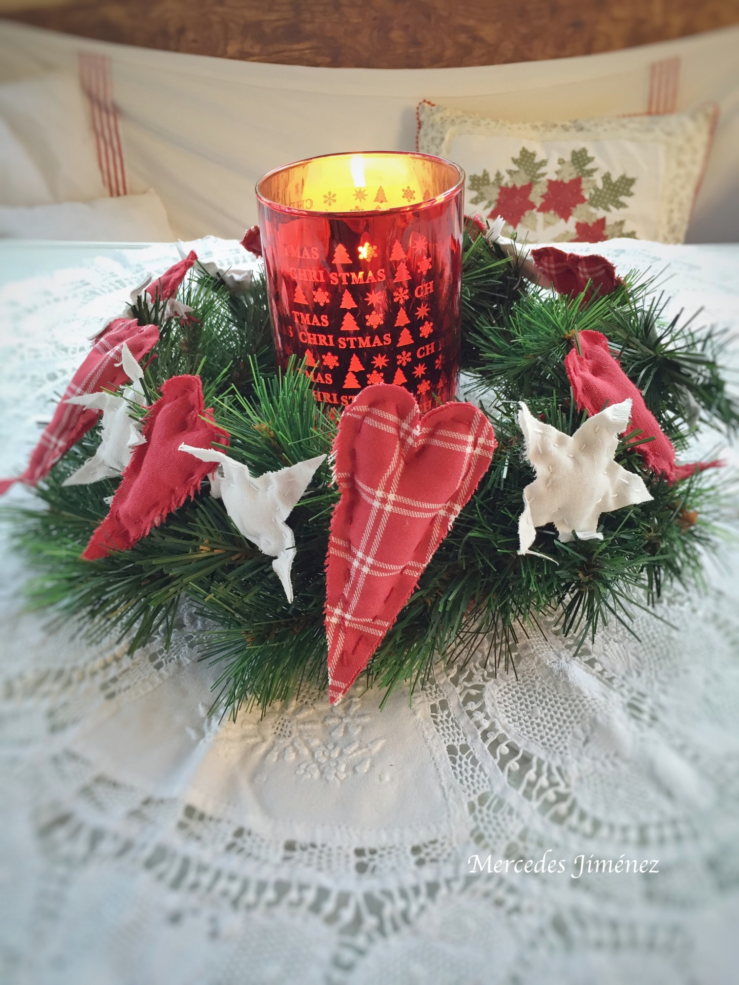 A vintage candle wreath Xmas