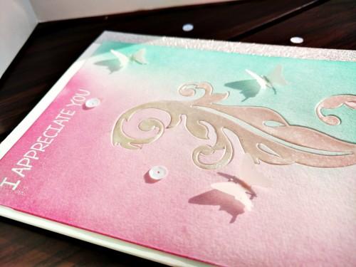 inlaid die cut card-close up