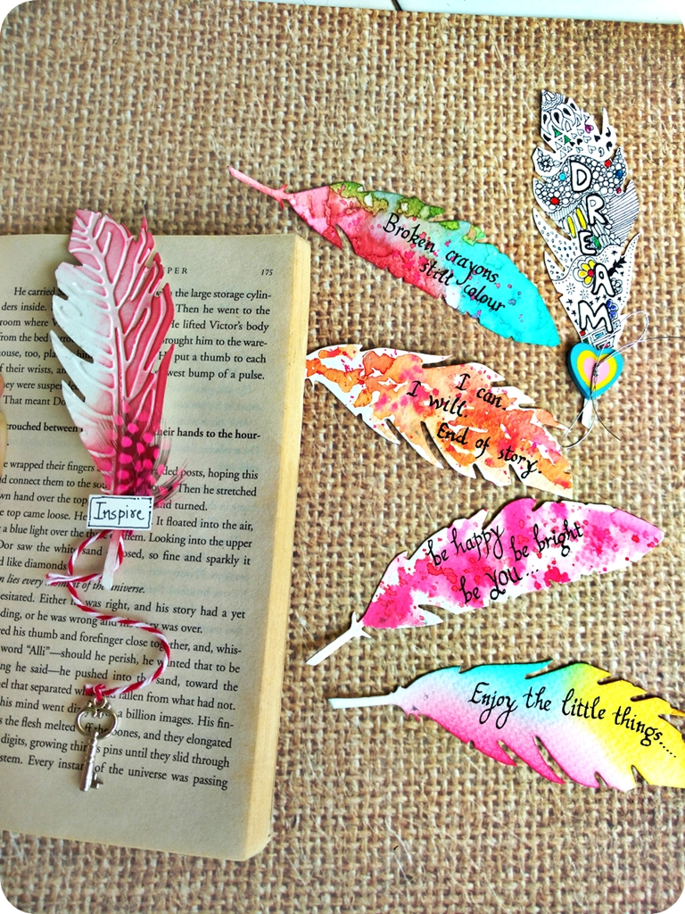 Feather bookmark ideas