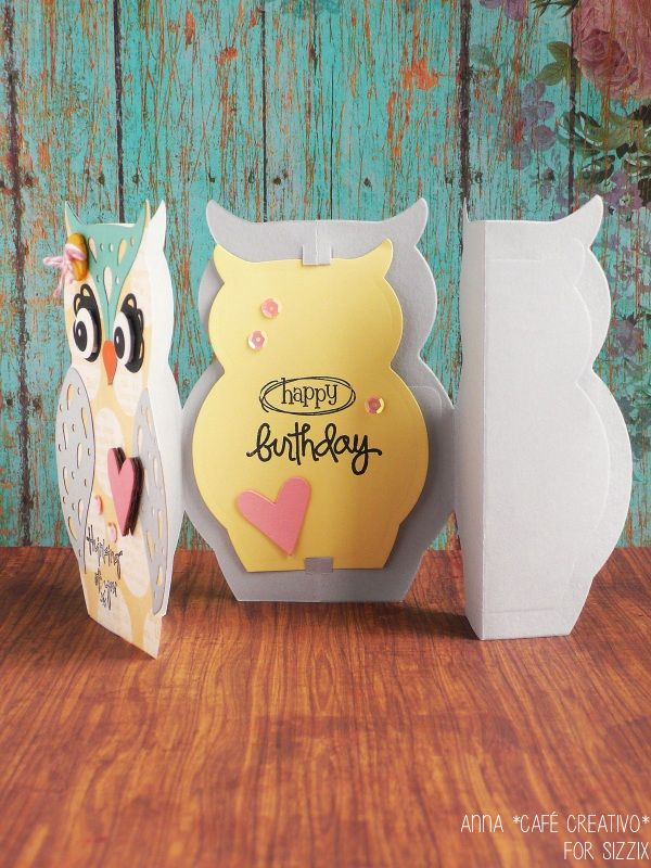 Sizzix Thinlits Die - Card Owl Label Fold-a-Long