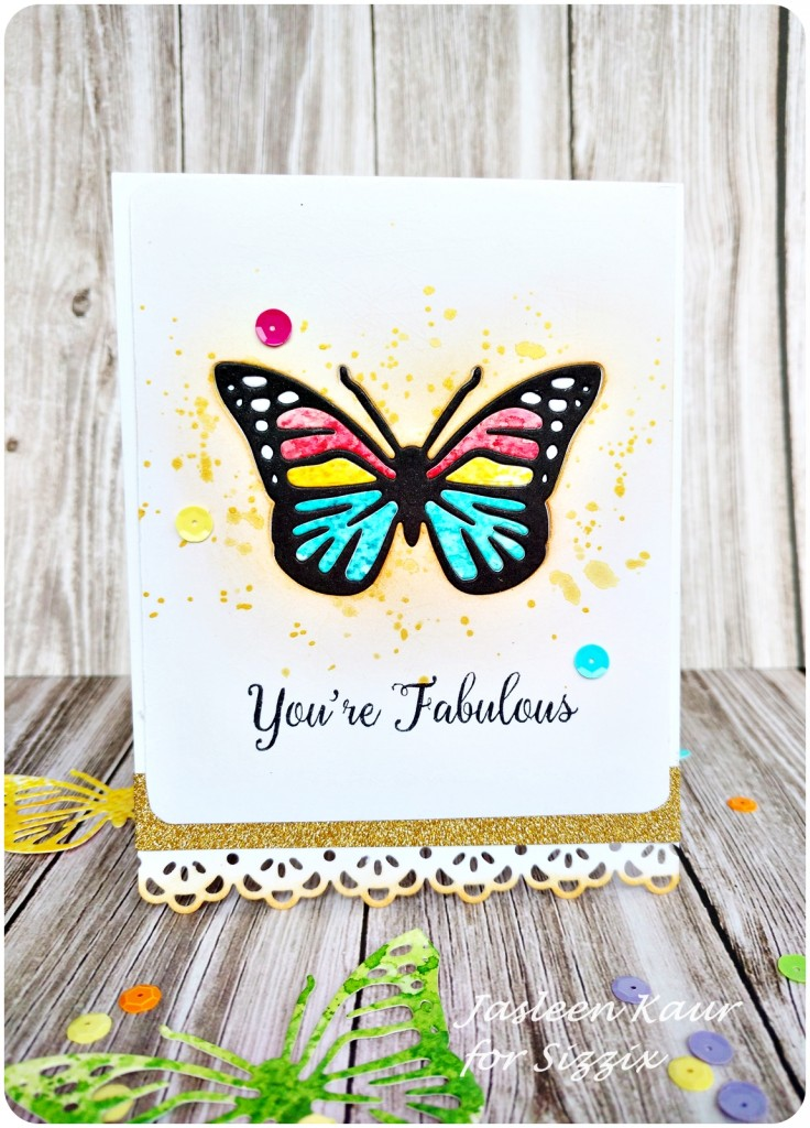 Inlaid diecut butterfly card