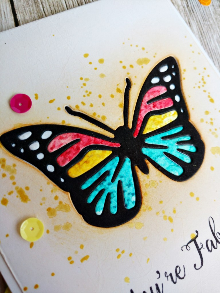 Inlaid diecut butterfly card-closer view