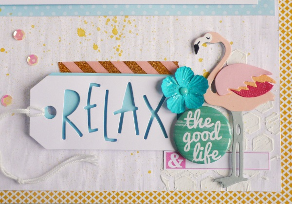 Scrapbook Layout Funky Flamingo Sizzix die and title tutorial
