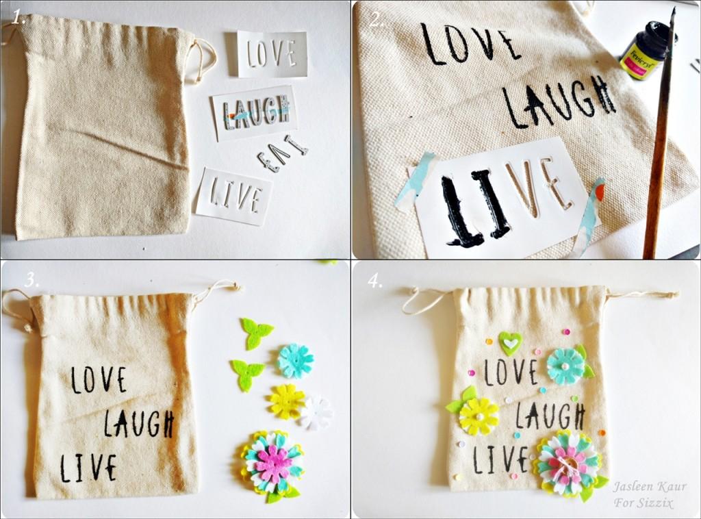 Decorating a plain canvas bag-steps 1-2-3-4