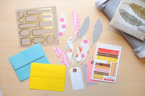 Embossed Feather Envelopes