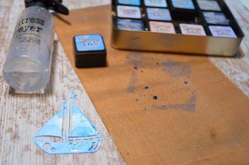 distress ink, water and watercolor paper die-cut