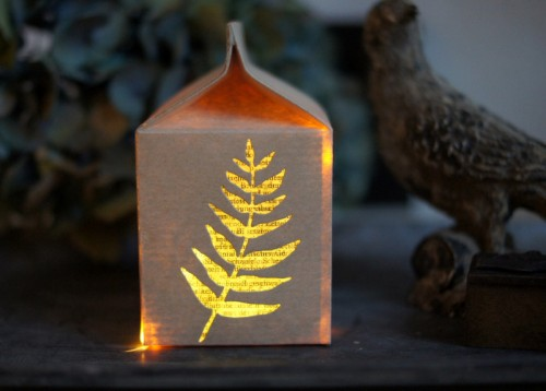 milk carton decoration light by Barbara Haane