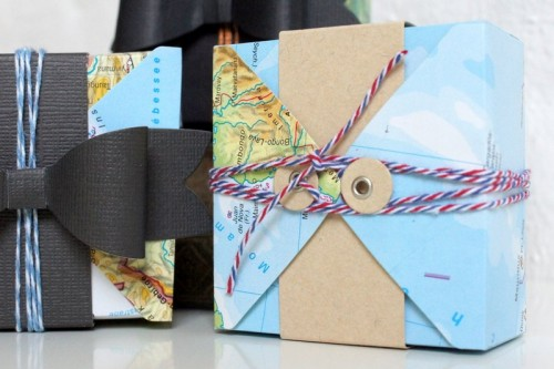 gift box from old map paper