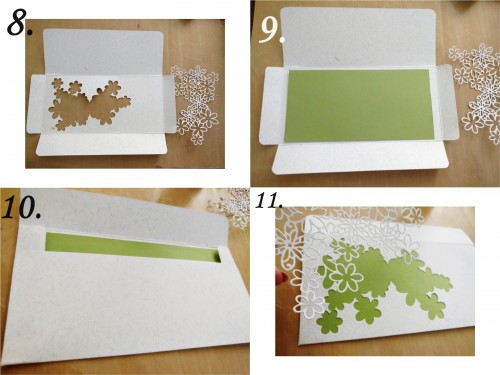 Steps-8-9-10-11 Make use of the negative space by adhering a green coloured paper behind