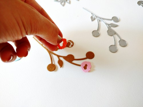 Adhering the tiny floral die cuts from the 'fresh freesia' die