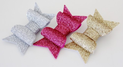 Felt Glitter Bow Clips from Molly and Mama