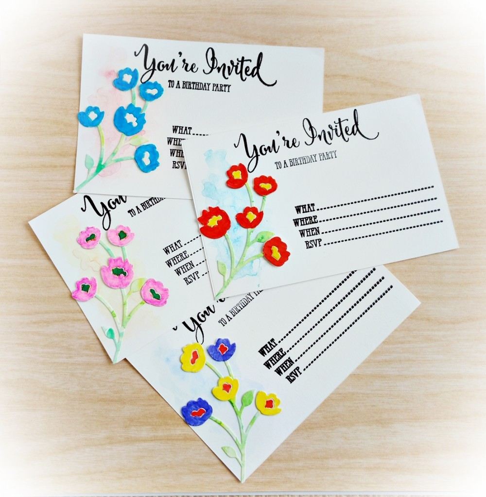 birthday invites using Fresh Freesia die