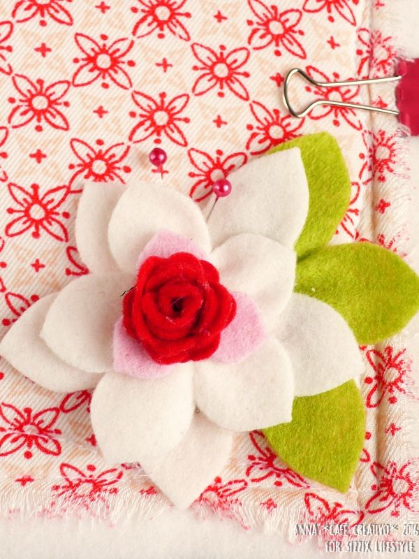 Embellished Notebook Cover for Christmas using Bigz Die Poinsettia