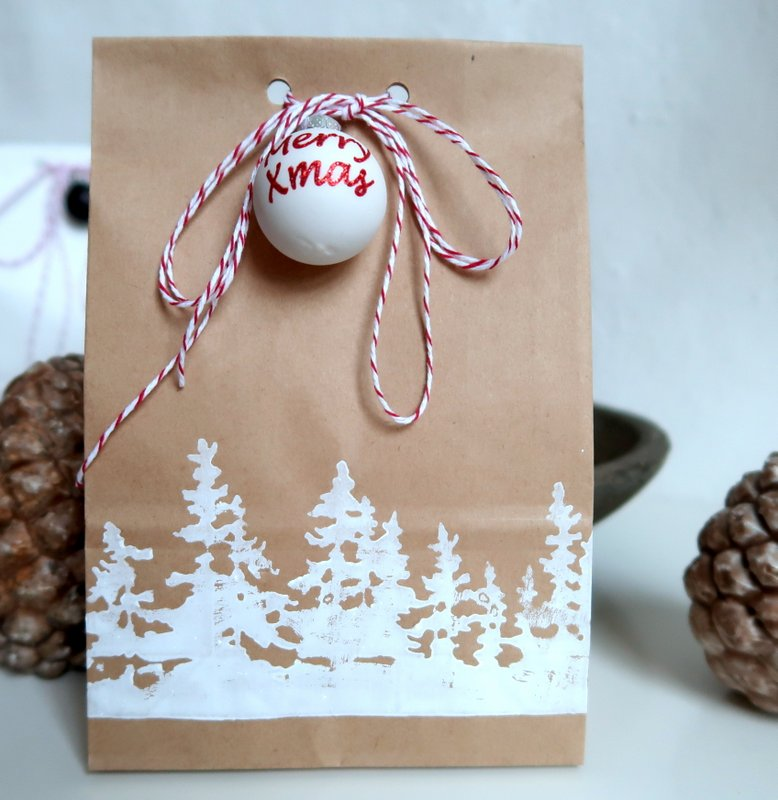 kraft gift bag with Tim Holtz christmas trees
