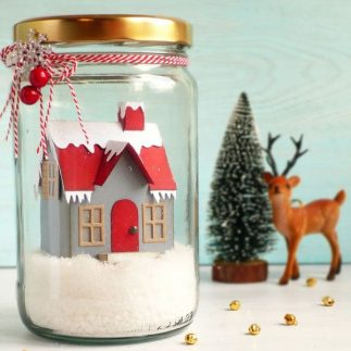 Christmas House using Village dies by Tim Holtz
