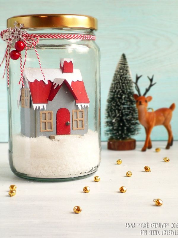 Christmas House on the jar using Bigz Die Village Dwelling by Tim Holtz