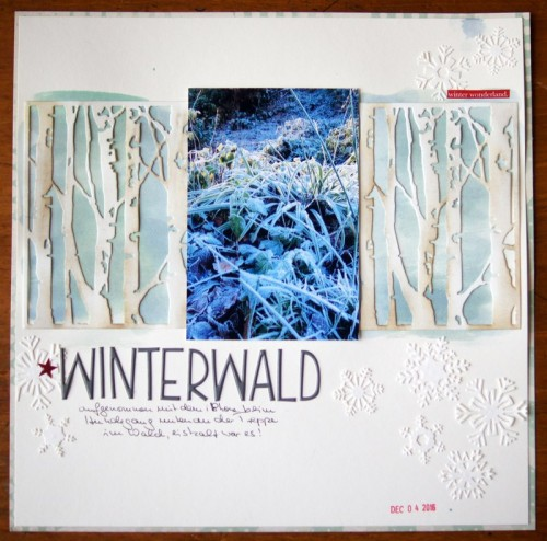 winter scrapbooking layout with Tim Holtz Thinlits