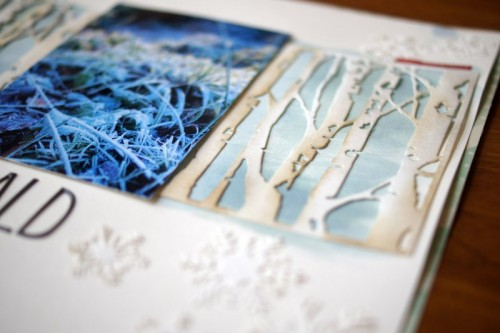 winter scrapbooking layout with Tim Holtz Thinlits