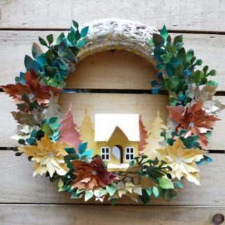 Green, Gold and Copper Christmas Wreath