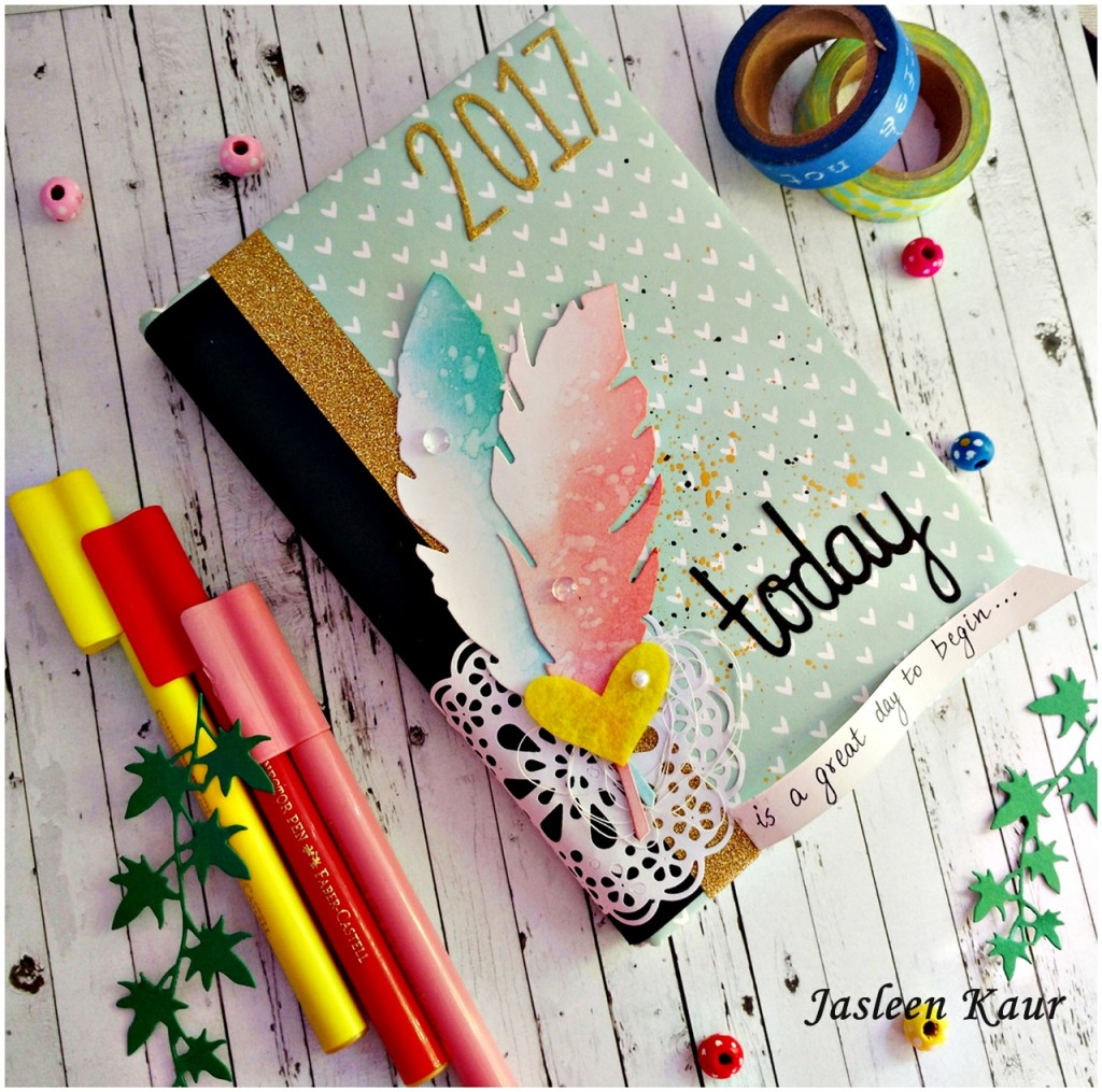 altered diary cover sizzix dies jasleen kaur-1
