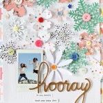 A Scrapbook layout with Snowflake and blossom Die-cutting