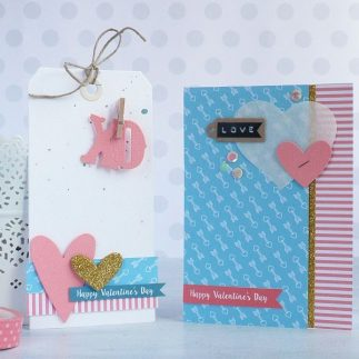 Handmade Valentine's Day card and gift tag
