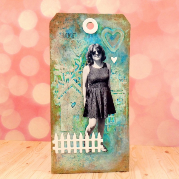 Faux embossing colored tag