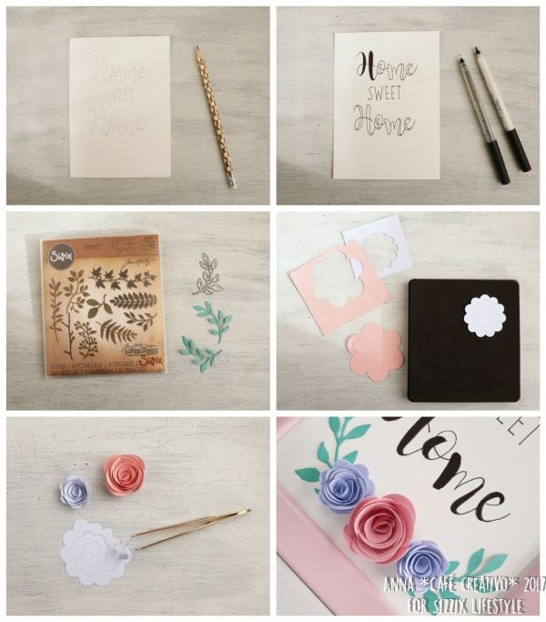 How to make a Frame art using Sizzix dies and Faux calligraphy