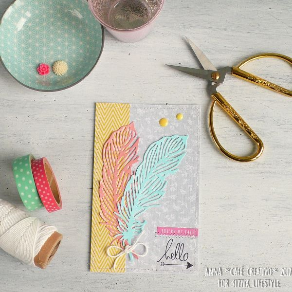 How to make Delicate Feather Card using Sizzix dies