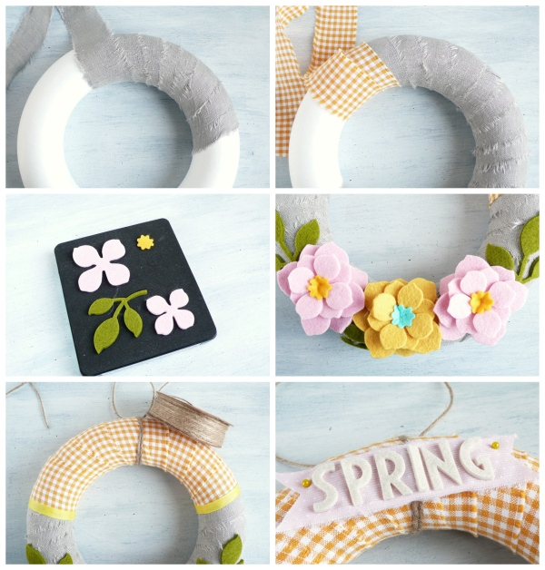 How to Make a Felt Spring Wreath using Asian Flower