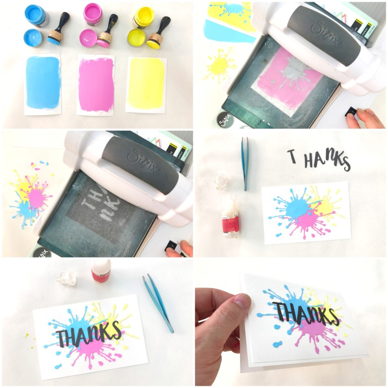 splatter thanks card step by step