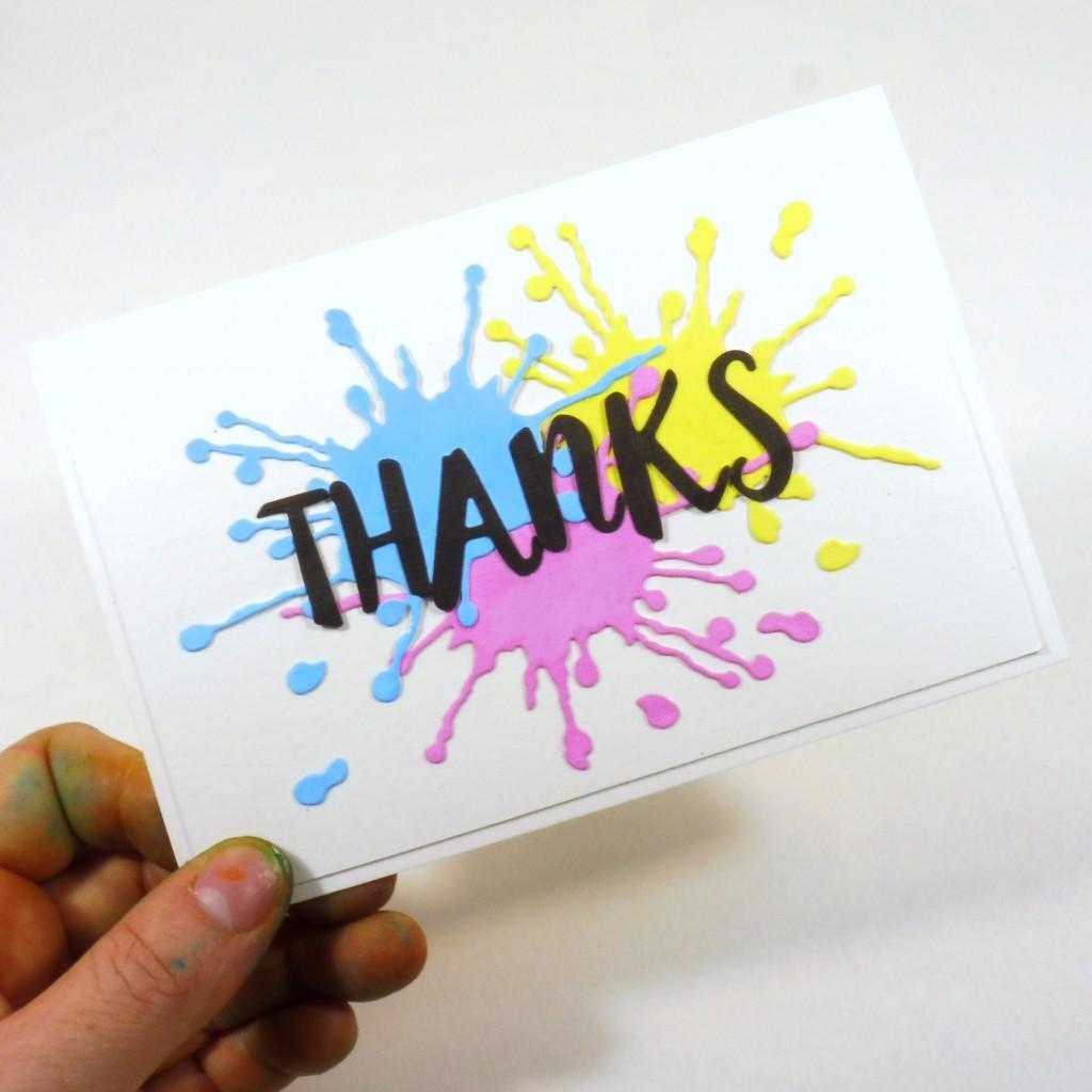 splatter thanks card diy