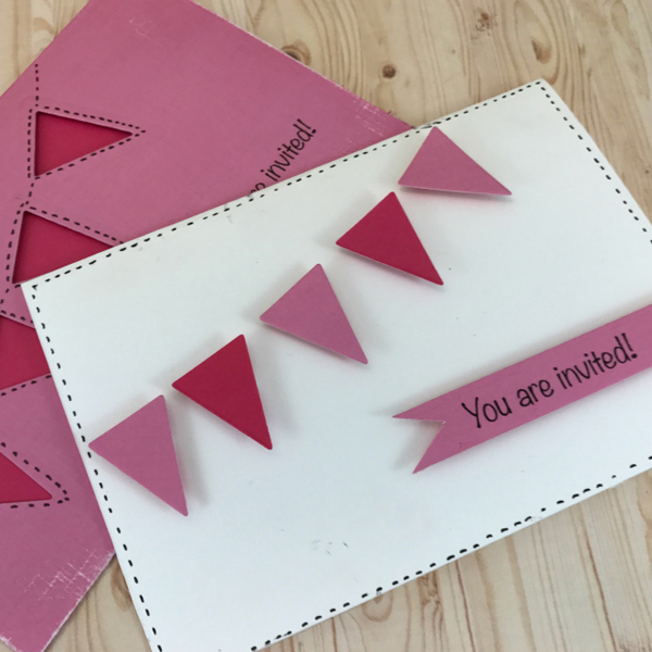 Positive and negative die-cutting bunting party invitations