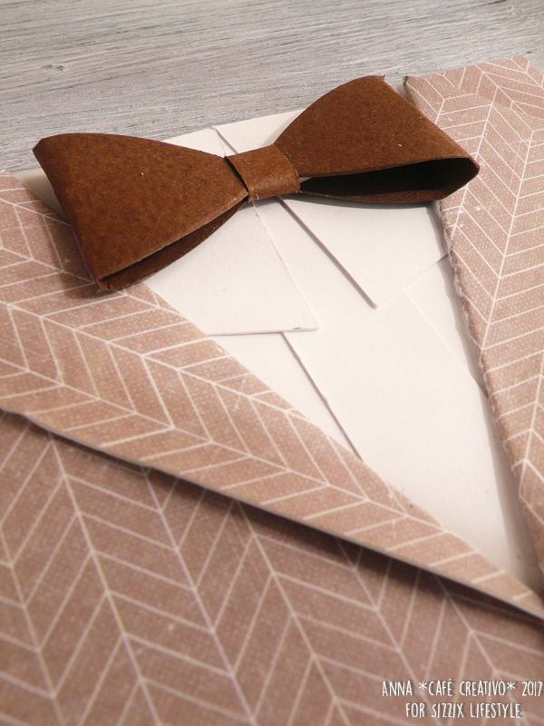 How to make a Bow tie and suit jacket birthday card