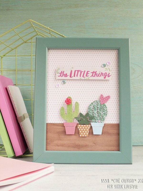 Cacti frame art home decor
