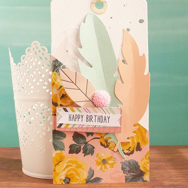 Handmade Birthday Gift Tag With Feather Anna Draicchio